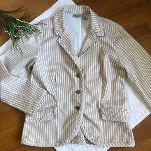 Chico's Khaki Cotton Striped Blazer Jacket